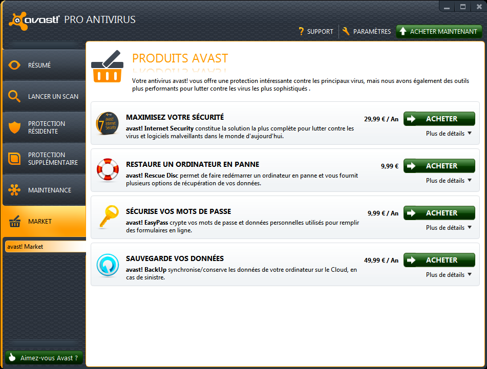 Marketplace Avast 7